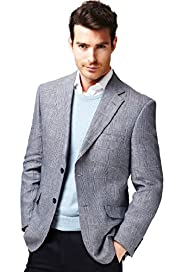 Collezione Pure Linen 2 Button Prince of Wales Checked Jacket