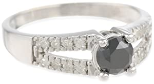 10k White Gold Split Shank Black and White Diamond Ring (1 cttw), Size 7