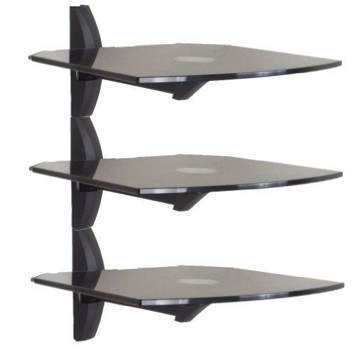 Invision Premium Ultra-Modern AV Wall Mounted Triple Glass Shelf Units - Cantilever Swivel Arm - Corner Room... Black Friday & Cyber Monday 2014
