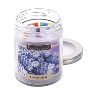Floral Lavender Bloom Scent Soy Blend Glass Jar Candle
