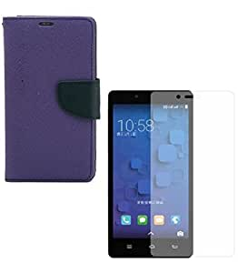Mobimax Diary Wallet Case Cover For Xiaomi Redmi Note 3-Purple With Tempered Glass