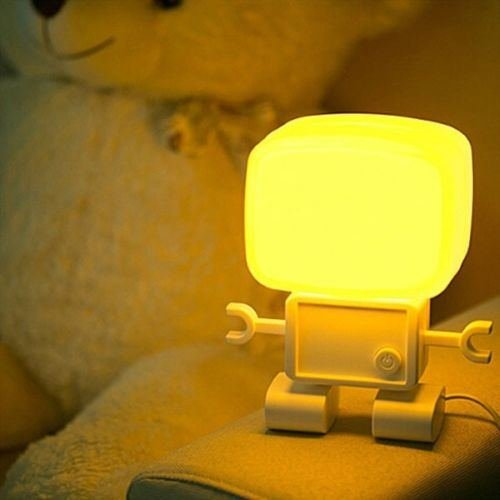 Led Intelligent Robot Sound Control Desk Table Lamp Night Kid Bedroom Light