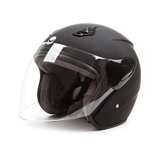 Open Face Motorcycle Helmets Scooter Helmets Flip up Helmets with Shield Matt Black (Italian Motorcycle Jackets compare prices)