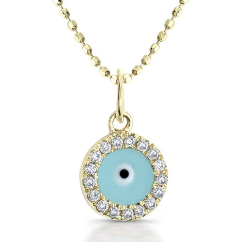 Victoria Kay 14k Yellow Gold Diamond and Light Blue Enamel Evil Eye Pendant (1/5cttw, JK, I2-I3), 16
