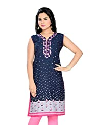 ALC Creations Blue Pink Neck Embroidery, Long, Casual, Formal, Printed Women's Kurti