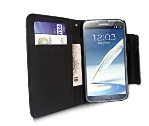 iTALKonline BLACK Executive Wallet Case Cover Skin Cover with Credit / Business Card Holder and Wrist Strap For Samsung N7100 Galaxy Note 2