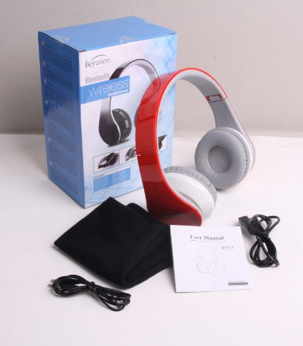 Brand New Beyution@Brand Red Color Stereo Wireless Bluetooth Headphones Headset---For All Tablet Mid, Smart Cell Phone And All Bluetooth Device