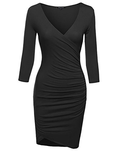 Super Sexy 3/4 Sleeve Body Con Wrap Dress Black L Size (Form Fitted Black Dress compare prices)