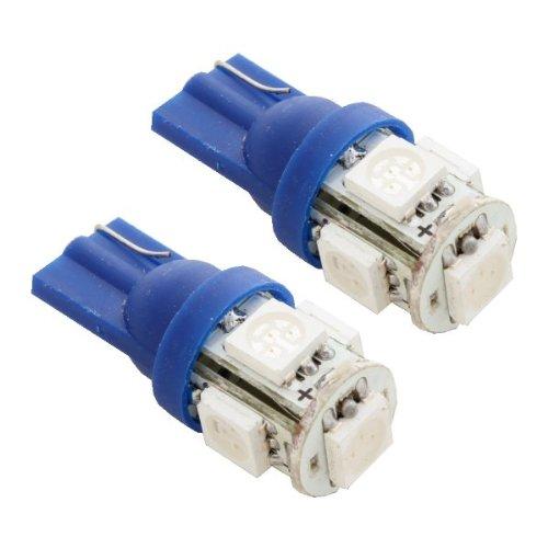 2Pcs 5-Smd T10 12V Light Led Replacement Bulbs 168 194 2825 W5W - Blue