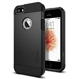 iPhone 5S Case, Spigen® [Tough Armor] HEAVY DUTY [SF Smooth Black] EXTREME Protection / Rugged but Slim Dual Layer Protective Cover for iPhone 5/5S - SF Smooth Black (SGP10492)