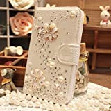 iPhone 6 Case,Luxury 3D Bling Crystal Rhinestone Wallet Leather Purse Flip Card Pouch Stand Cover Case + Bonus Hundromi Logo Stylus(Flower)