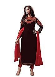 SANCHEY Womens Velvet Semi-stitched Salwar Suit Dupatta Material (Red)