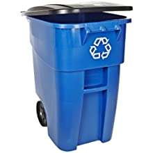 "Rubbermaid Commercial Brute 50-Gallon Recycling Rollout Container with Lid, Rectangular, 23.4"" Width x 28.5"" Depth x 36.5"" Height, Blue"
