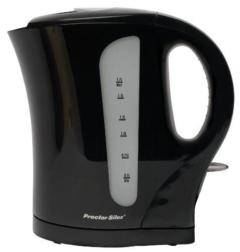 Proctor Silex K4097 Cordless Electric Kettle, 1.7-Liter, Black