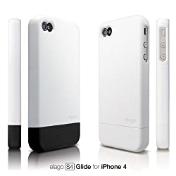 elago S4 Glide Case for iPhone 4 - Soft Feeling Snow White + Extra Bottom Clip + Front Protection Film + Back Protection Film included