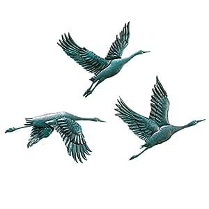 Amazon Com Birds In Flight Metal Wall Decor Set Of 3