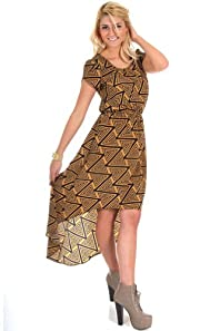 Peaches N Cream Scoop Neck Abstract Triangle Print Dress in Mustard