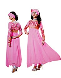 Zerel Pink Embroidered Georgette Semi Stitched Anarkali Salwar Suit