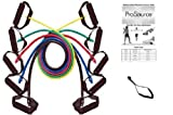 Set of 5 ProSource Premium Latex Resistance Exercise Bands Tubes Cords w/ Door Anchor and Exercise Manual