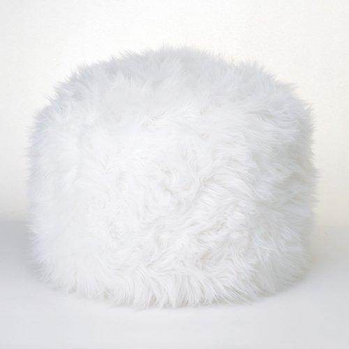 Fuzzy White Ottoman Pouf front-860659