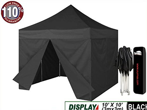 Eurmax Black 10X10 Pop Up Canopy Instant Tent Outdoor Party Tent With Removeable 4 Zippered Sidewalls Sides With Dust Cover front-1075855