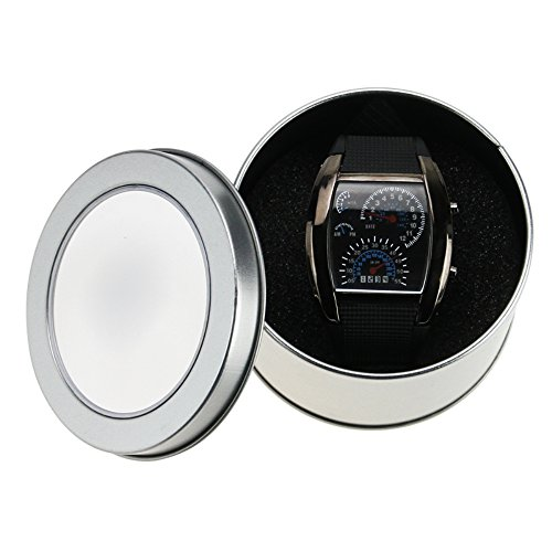 Muchbuy New Sports Rpm Turbo Blue & White Flash Led Car Speed Meter Dial Men Gift Watch