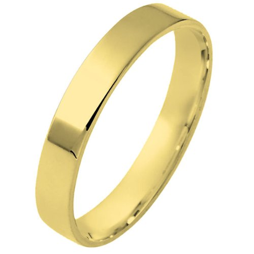 14K Yellow Gold, Flat Comfort Fit Wedding Band 4MM (sz 11)