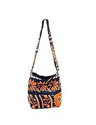 Indune Floral Elegance Women's Shoulder Bag, Orange & Black