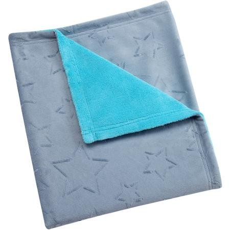 Baby Soft Grey and Blue Blanket - 1