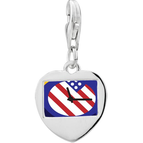 Pugster 925 Sterling Silver American Flag Clock