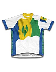 Saint Vincent An The Grenadines Flag Short Sleeve Cycling Jersey for Women
