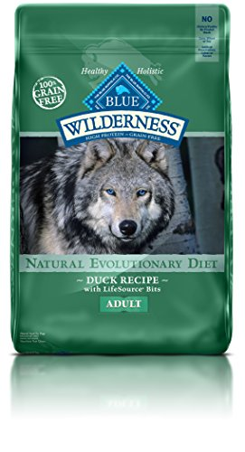 blue buffalo wilderness grain free dry dog food duck recipe 24 pound bag