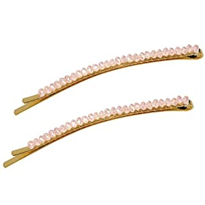 Faceted Crystal Row Two-Tone Bobby Pin - Rose Pink (2 Pcs)