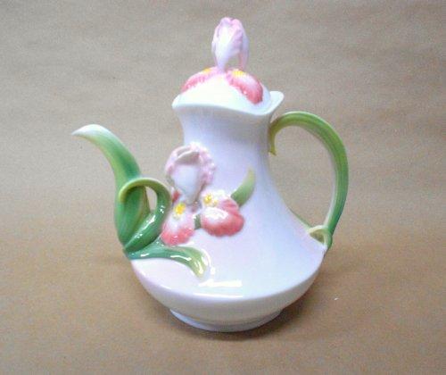 Pink Iris Porcelain Teapot Coffee Pot- Gallant Craft