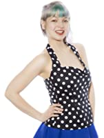 Rockabilly Black & White Polka Dot Halter Top