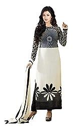 Clickedia Women's Straight Cut American Crepe White Black Salwar Suit - Dress Material