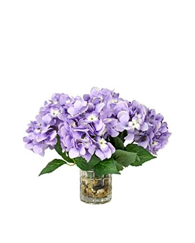Creative Displays Hydrangea River Rock Water Vase, Lavender/Green/Natural
