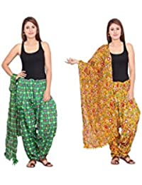 Rama Set Of 2 Abstract Design Green & Yellow Colour Cotton Full Patiala With Dupatta Set