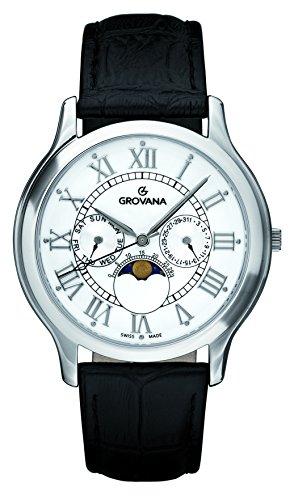 Grovana Reloj unisex de cuarzo con correa de piel color blanco esfera analógica pantalla y negro 1025.1533