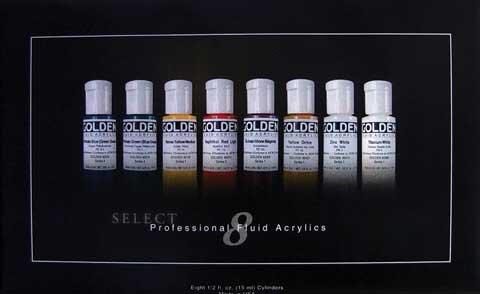 Golden 0000918-0 8 Color Fluid Acrylic Paint Set