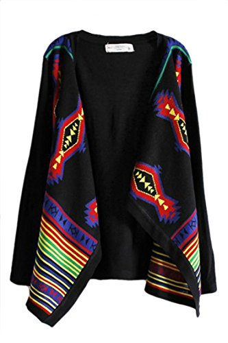 Pink Wind Womens Geometric Knitted Loose Cardigan Multicoloured Stripe Sweaters L