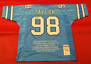 LAWRENCE TAYLOR AUTOGRAPHED UNIVERSITY OF NORTH CAROLINA TAR HEELS STAT JERSEY JSA