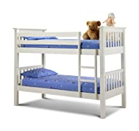 Barcelona , Standard Two Sleeper, Quality WHITE Pine Wood BUNK BED with POCKET SPRUNG MATTRESSES