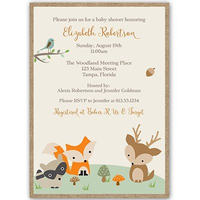 Forest Animals, Baby Shower Invitations, Gender Neutral, Racoon, Deer, Fox, Tree top, 10 Custom Printed Invites with White Envelopes, FREE Shipping (Forest Baby Shower Invitations compare prices)