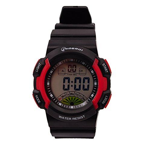 8Years- 1 Stueck Rot Kinder Sport Digitaluhr Armbanduhr Stoppuhr Wasserdicht