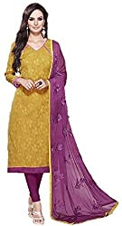 Avni Women's Golden Yellow Jacquard Unstitched Dress Material