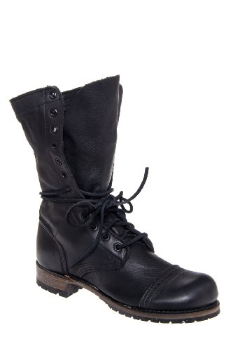 Vintage Shoe Company Molly Mid Calf Low Heel Cap Toe Lace Up Combat Boot