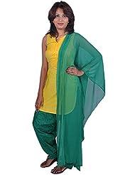 Womens Cottage Bottle Green Cotton Jacquard Patiala & Chiffon Dupatta Set