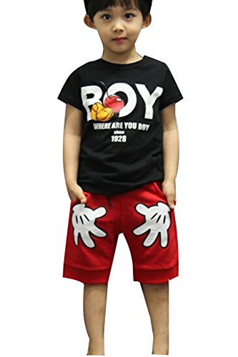 Baby Boys T-shirt Tops Red Pants Outfits Sets Casual 2pcs Summer (5-6 Year, Black) Kids Casual Shorts