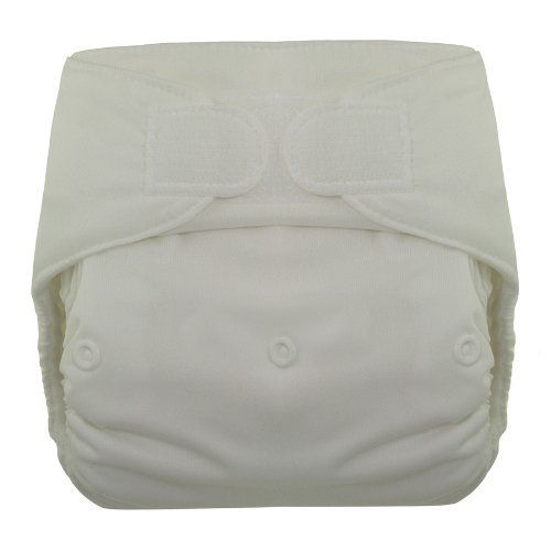 Blueberry Deluxe Hook/Loop Diaper, White - 1